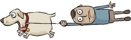 29157084 - a running cartoon dog pulls its owner on a leash.